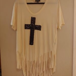 POL Cross top with fringe